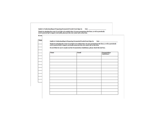 Event Sign In Sheets & Email Capture
